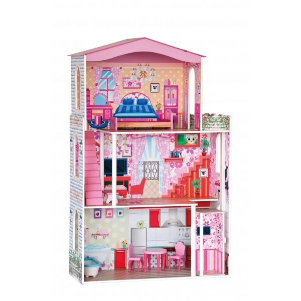 Разноцветный дом с лифтом для куклы